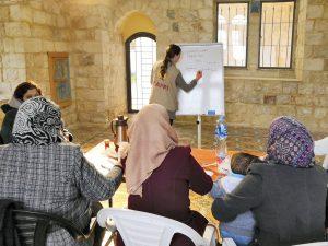 EAPPI-tarkkailija kirjoittaa valkotaululle, neljä palestiinlaisnaista katsoo.